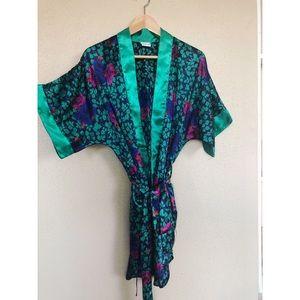 VINTAGE 1980's Scarface floral bohemian bath robe